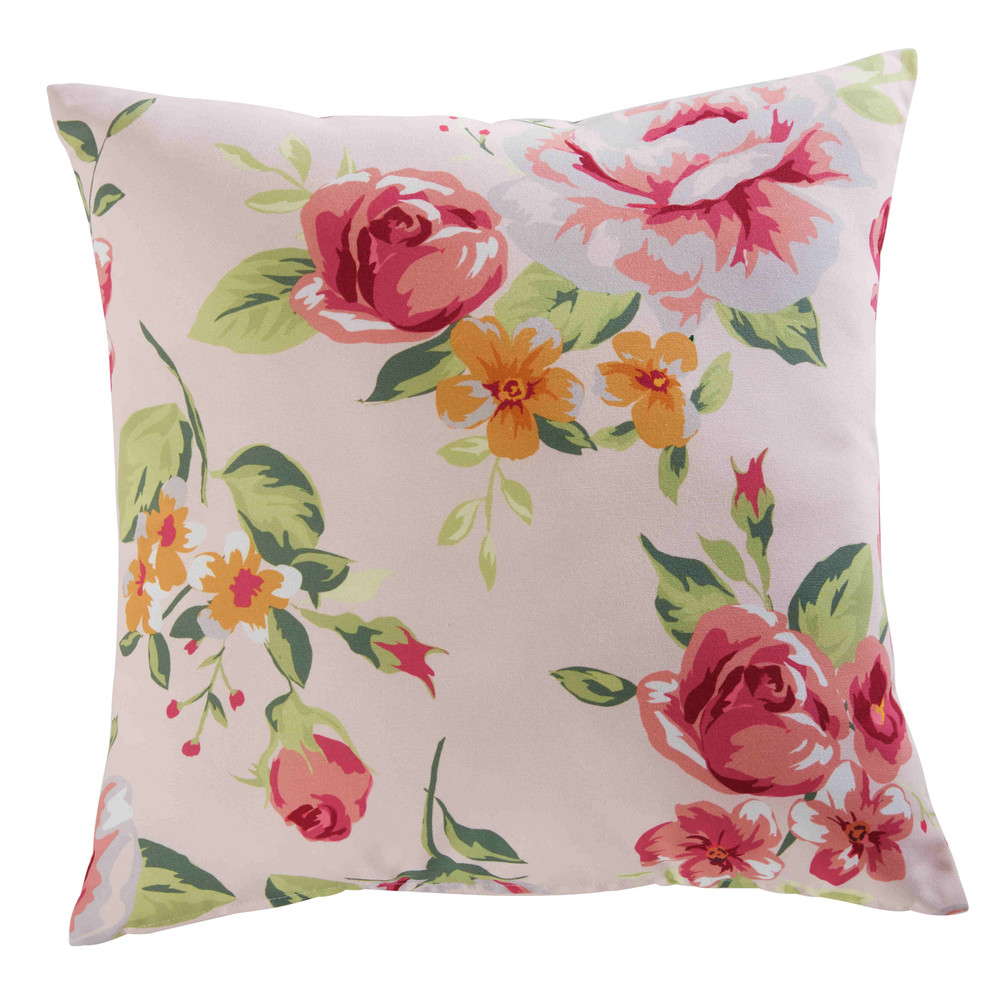 Tuinkussen in roze stof met bloemenprint 45x45cm MILADY   Maisons du Monde