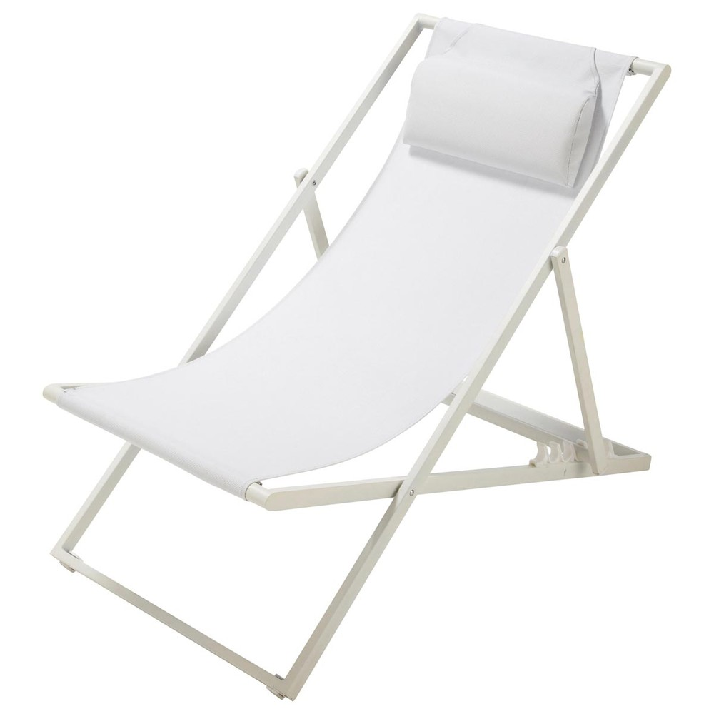 Tumbona silla de playa plegable de metal blanca l 104 cm for Sillas para jugar a la play