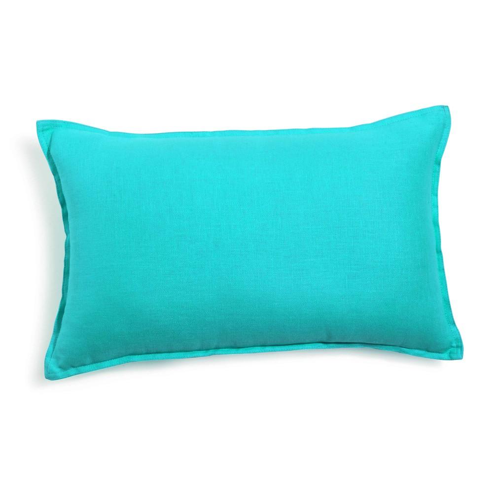 Turquoise kussen in gewassen linnen 30 x 50 cm maisons du monde - Linnen gordijnen gewassen ...