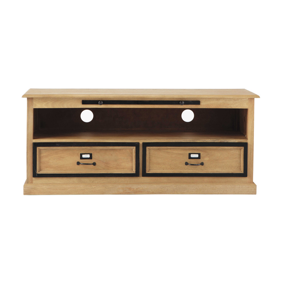 tv lowboard aus mangoholz b 130 cm naturaliste maisons. Black Bedroom Furniture Sets. Home Design Ideas