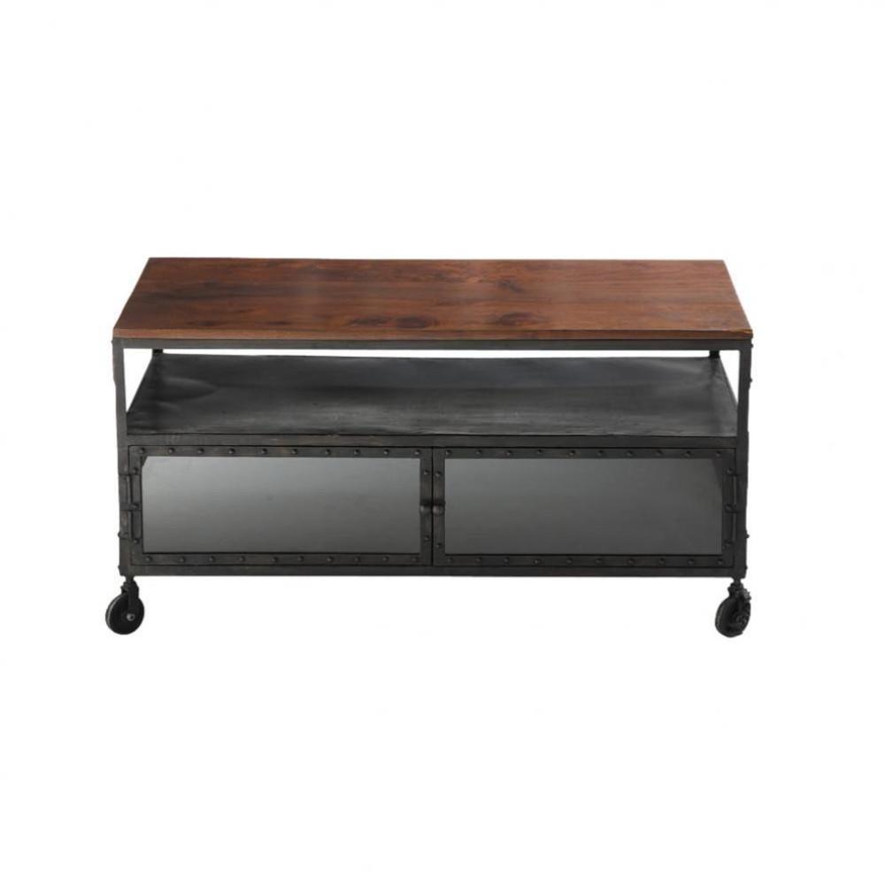 tv lowboard aus metall und massivem sheeshamholz auf. Black Bedroom Furniture Sets. Home Design Ideas