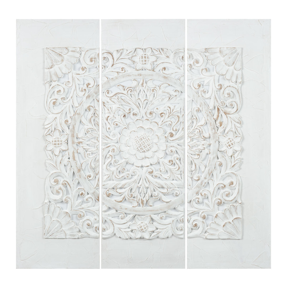 Udaipur polyresin triptych in white 90 x 90cm maisons du for Maison de monde uk