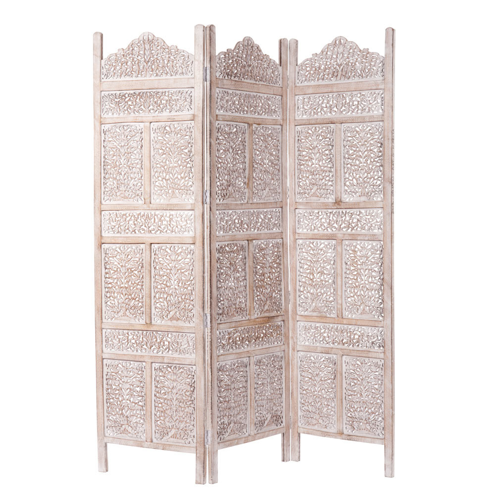 udaipur whitewashed mango wood folding screen w 150cm. Black Bedroom Furniture Sets. Home Design Ideas
