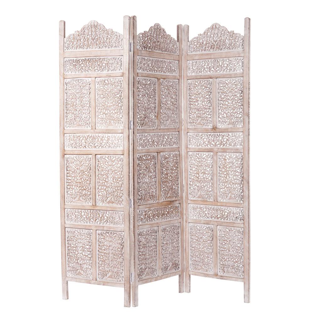 udaipur whitewashed mango wood folding screen w 150cm maisons du monde. Black Bedroom Furniture Sets. Home Design Ideas