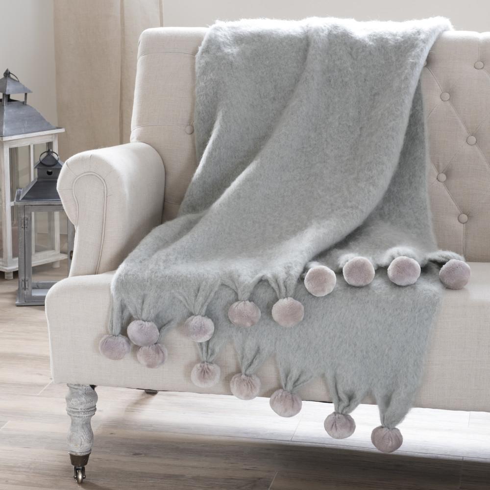 berwurf pompone aus wolle mit quasten 130 x 170 cm grau maisons du monde. Black Bedroom Furniture Sets. Home Design Ideas