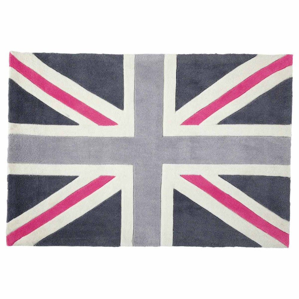 Union Jack Low Pile Rug In Grey Pink 120 X 180cm