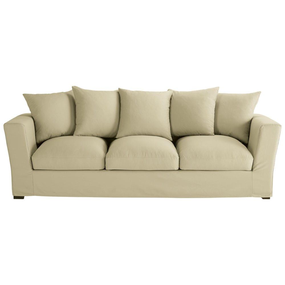 vaalbeige katoenen 4 plaatsen zitbank bruxelles maisons du monde. Black Bedroom Furniture Sets. Home Design Ideas