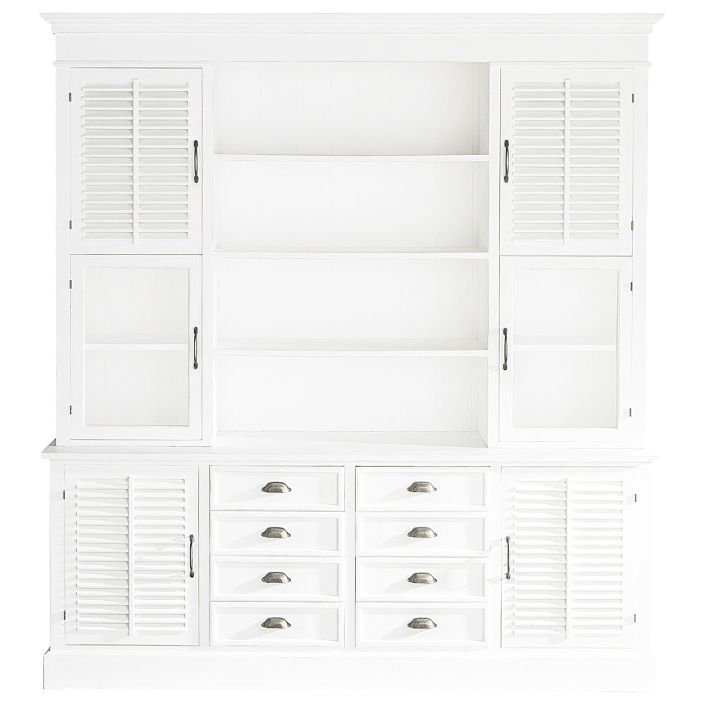 vaisselier en bois blanc l 204 cm cottage club maisons du monde. Black Bedroom Furniture Sets. Home Design Ideas