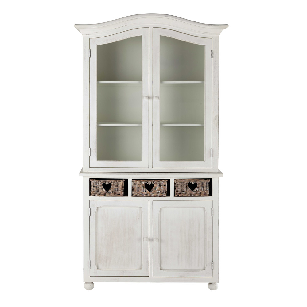 vaisselier en bois de paulownia blanc l 107 cm romance maisons du monde. Black Bedroom Furniture Sets. Home Design Ideas