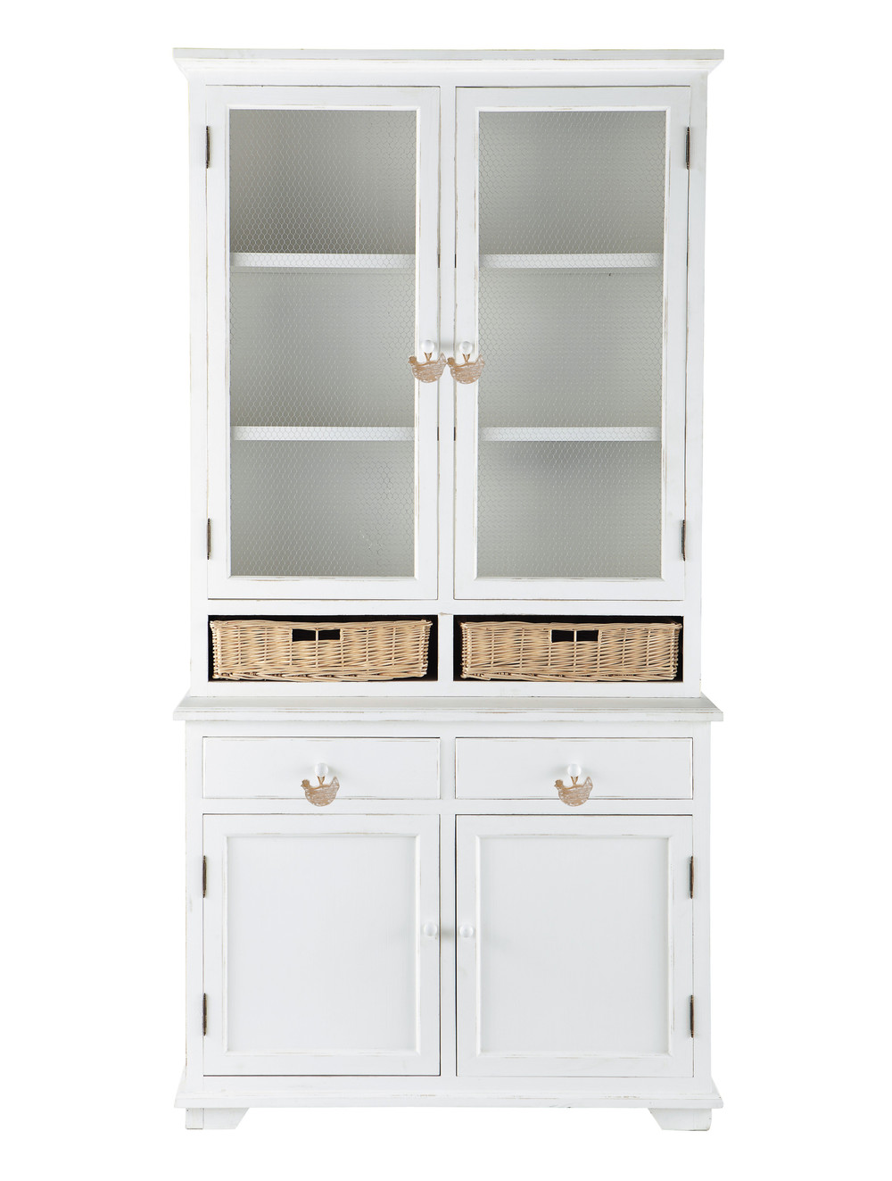vaisselier en bois de paulownia blanc l 110 cm basse cour maisons du monde. Black Bedroom Furniture Sets. Home Design Ideas
