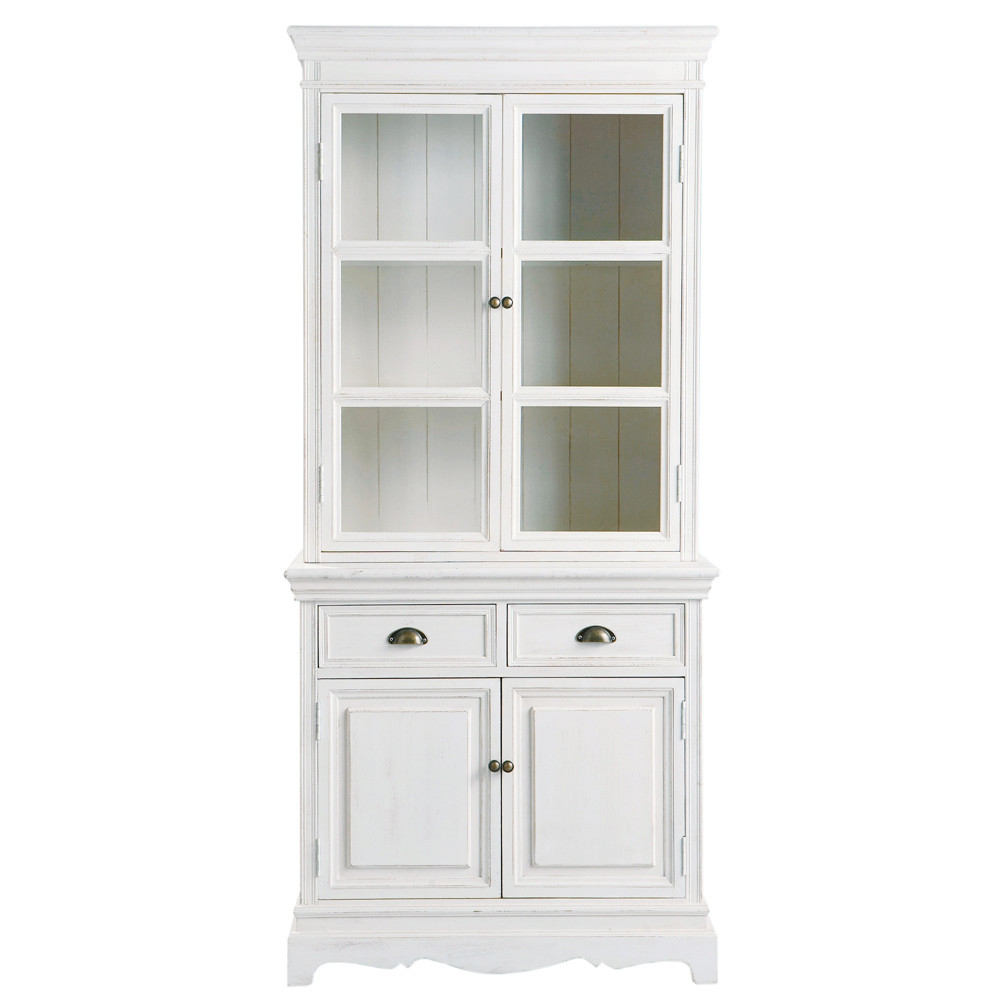 vaisselier en bois de paulownia blanc l 86 cm jos phine maisons du monde. Black Bedroom Furniture Sets. Home Design Ideas