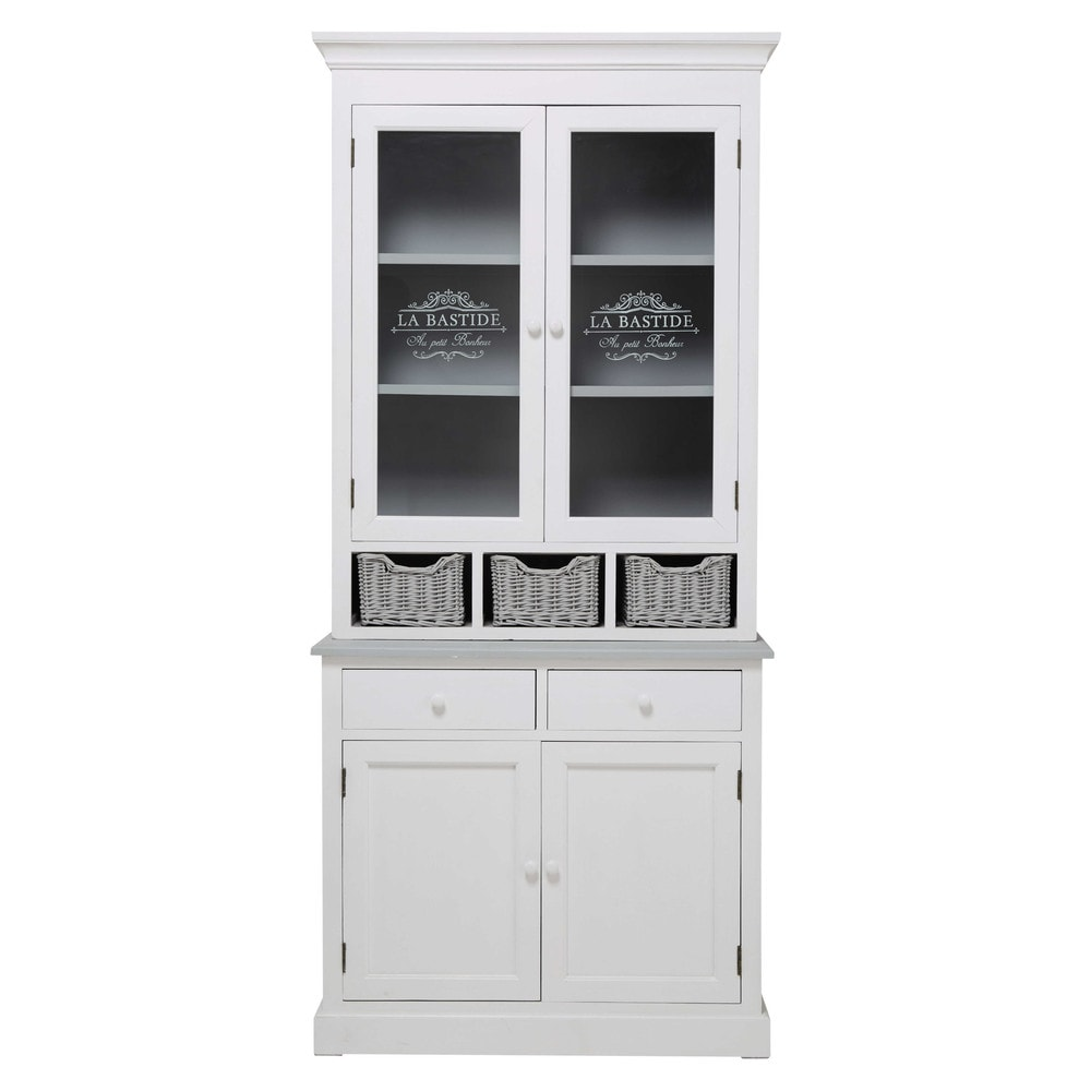 vaisselier en bois de paulownia blanc l 90 cm garrigue maisons du monde. Black Bedroom Furniture Sets. Home Design Ideas