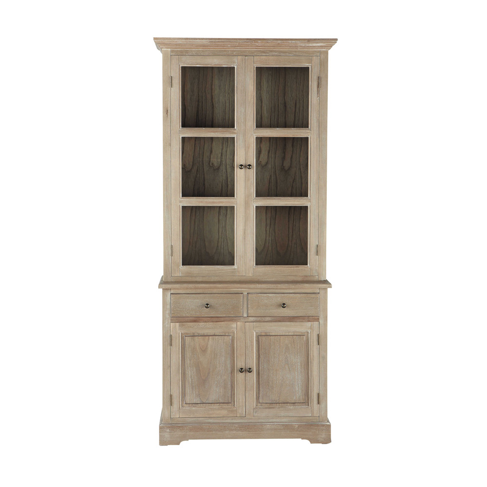 vaisselier en bois de paulownia gris l 90 cm cavaillon maisons du monde. Black Bedroom Furniture Sets. Home Design Ideas