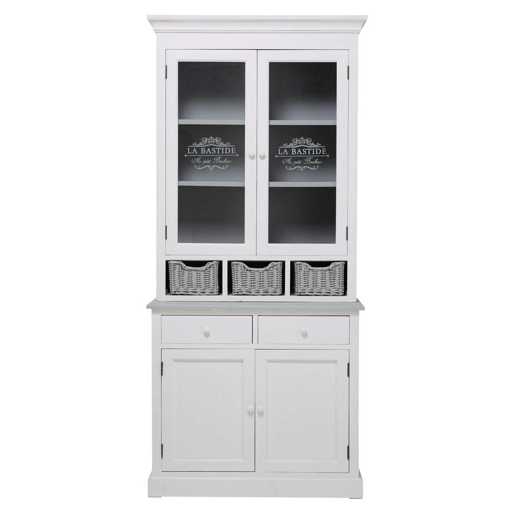 vaisselier en paulownia blanc garrigue maisons du monde. Black Bedroom Furniture Sets. Home Design Ideas