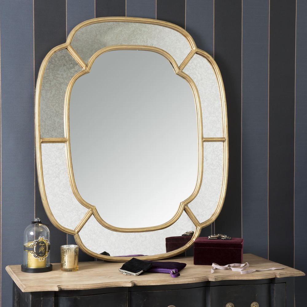Valois goudkleurige metalen spiegel maisons du monde - Metalen spiegel ...