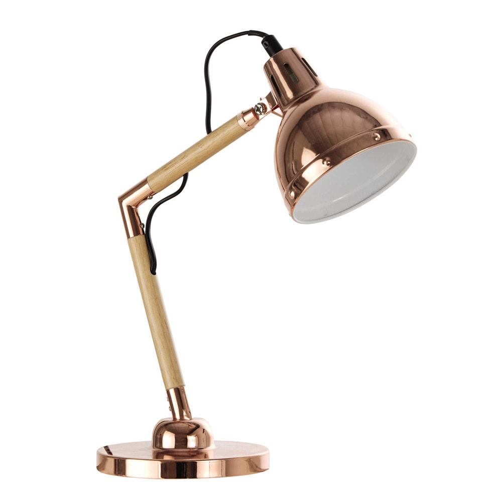 vanite copper metal desk lamp h 34 cm maisons du monde. Black Bedroom Furniture Sets. Home Design Ideas