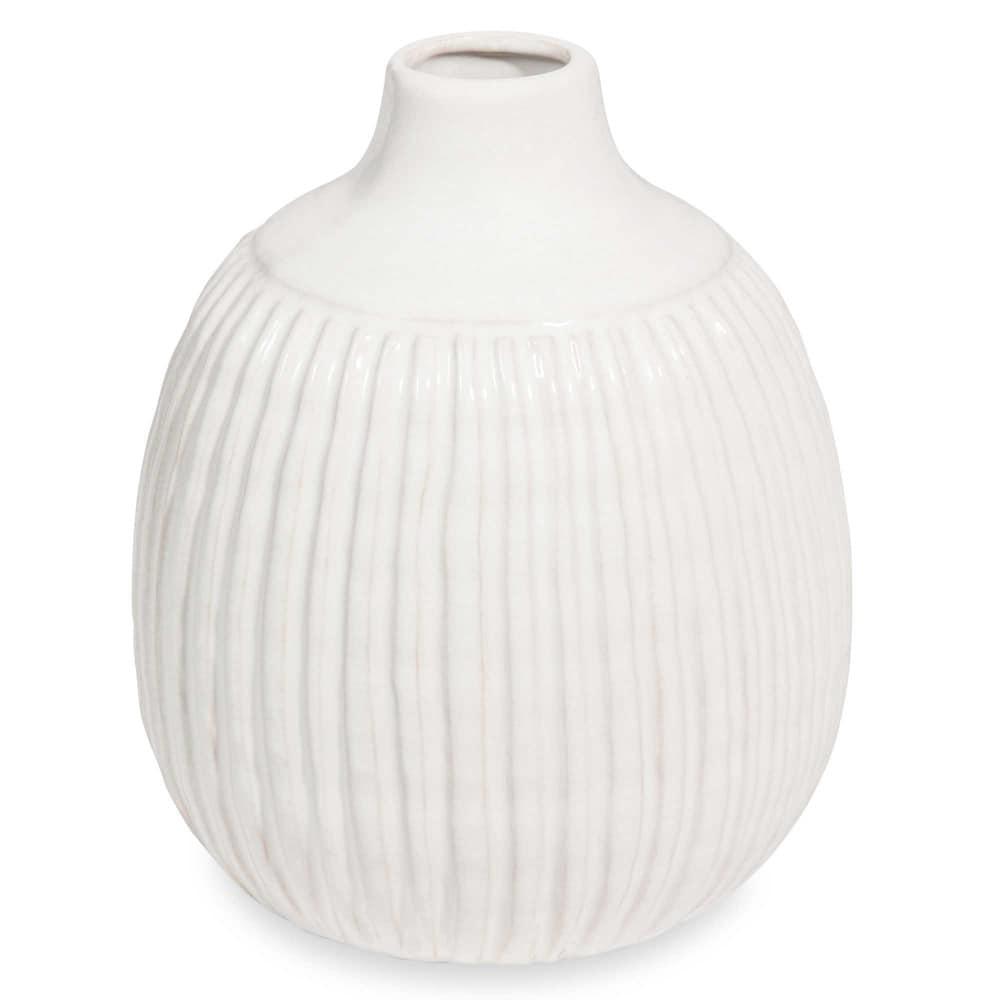 vase boule en c ramique blanche stries maisons du monde. Black Bedroom Furniture Sets. Home Design Ideas