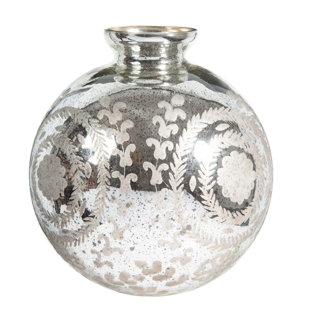 vase boule en verre h 33 cm antic silver maisons du monde. Black Bedroom Furniture Sets. Home Design Ideas