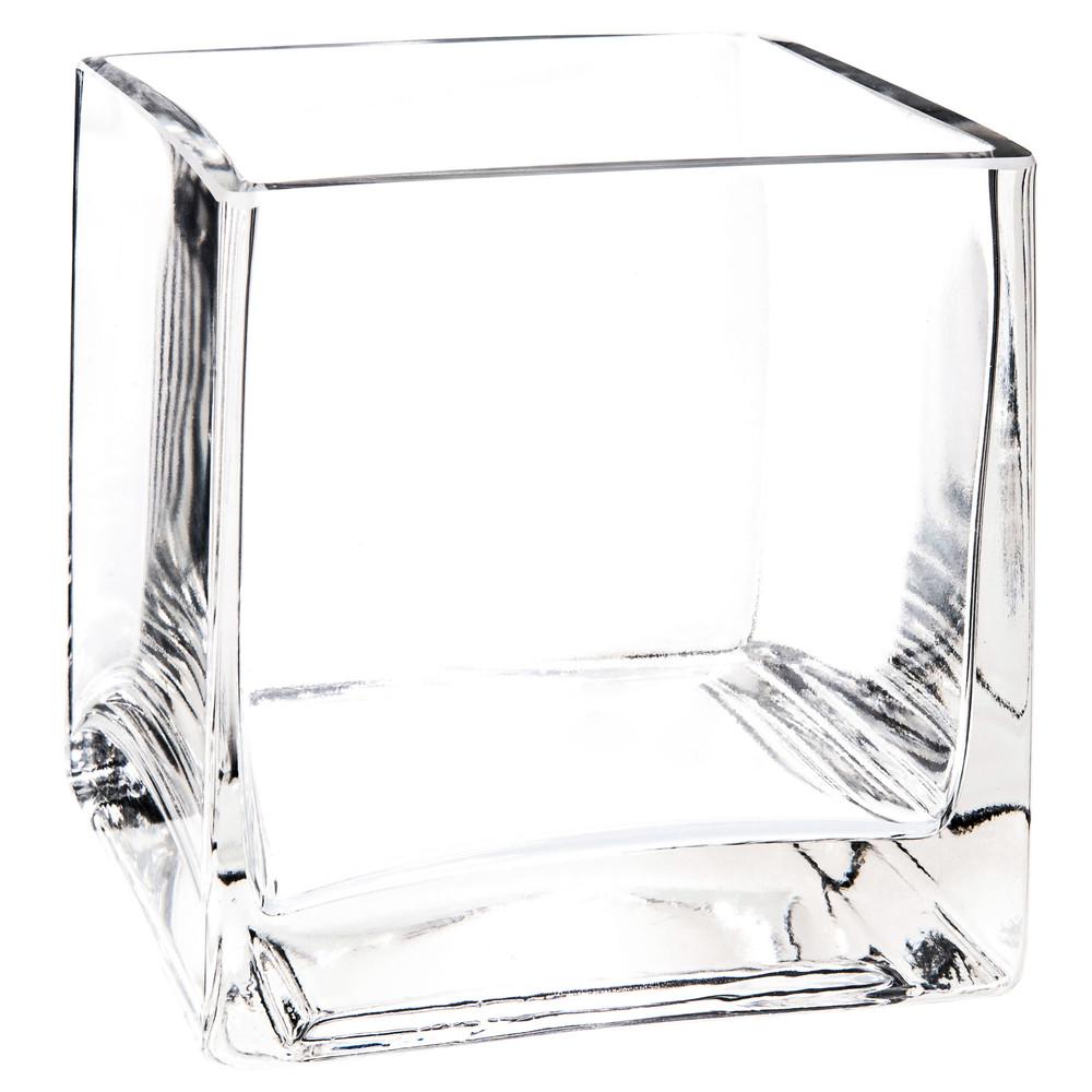 Vase carr en verre h 10 cm maisons du monde for Decoration vase en verre