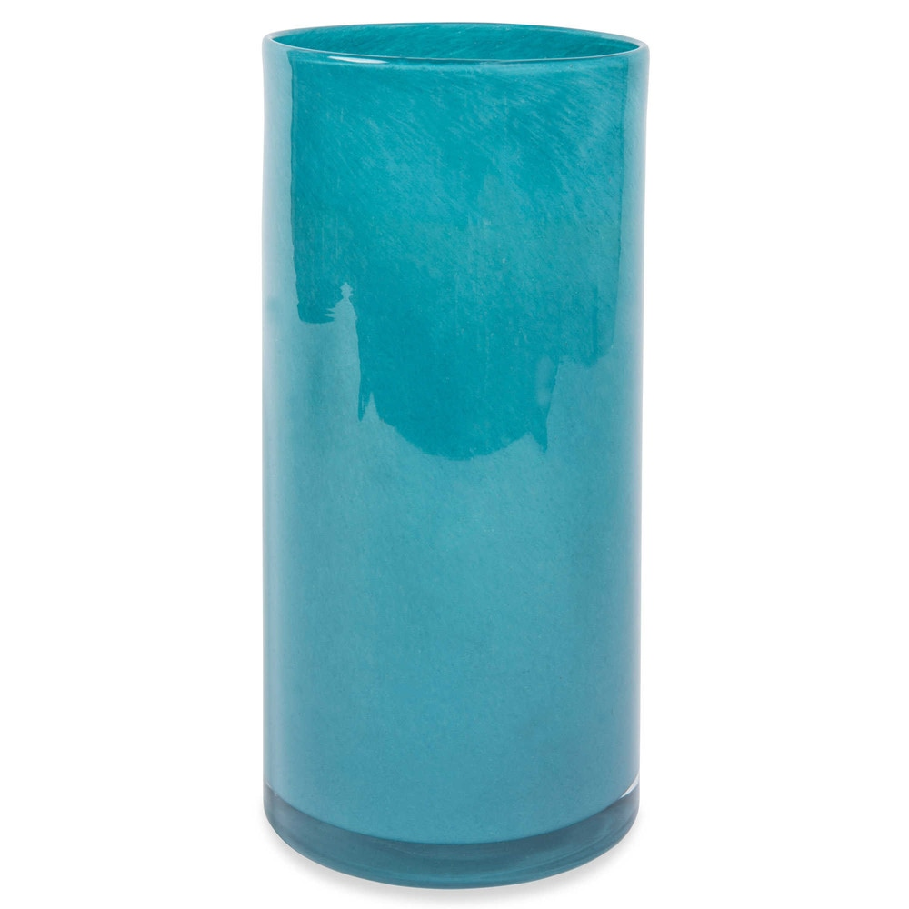 vase cylindrique en verre bleu p trole h 25 cm maisons du monde. Black Bedroom Furniture Sets. Home Design Ideas