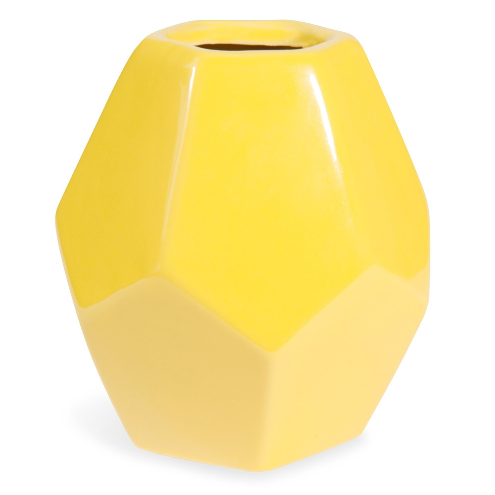 vase en c ramique jaune h 21 cm maisons du monde. Black Bedroom Furniture Sets. Home Design Ideas