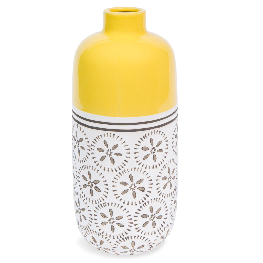 vase en gr s jaune h 30 cm kilali maisons du monde. Black Bedroom Furniture Sets. Home Design Ideas