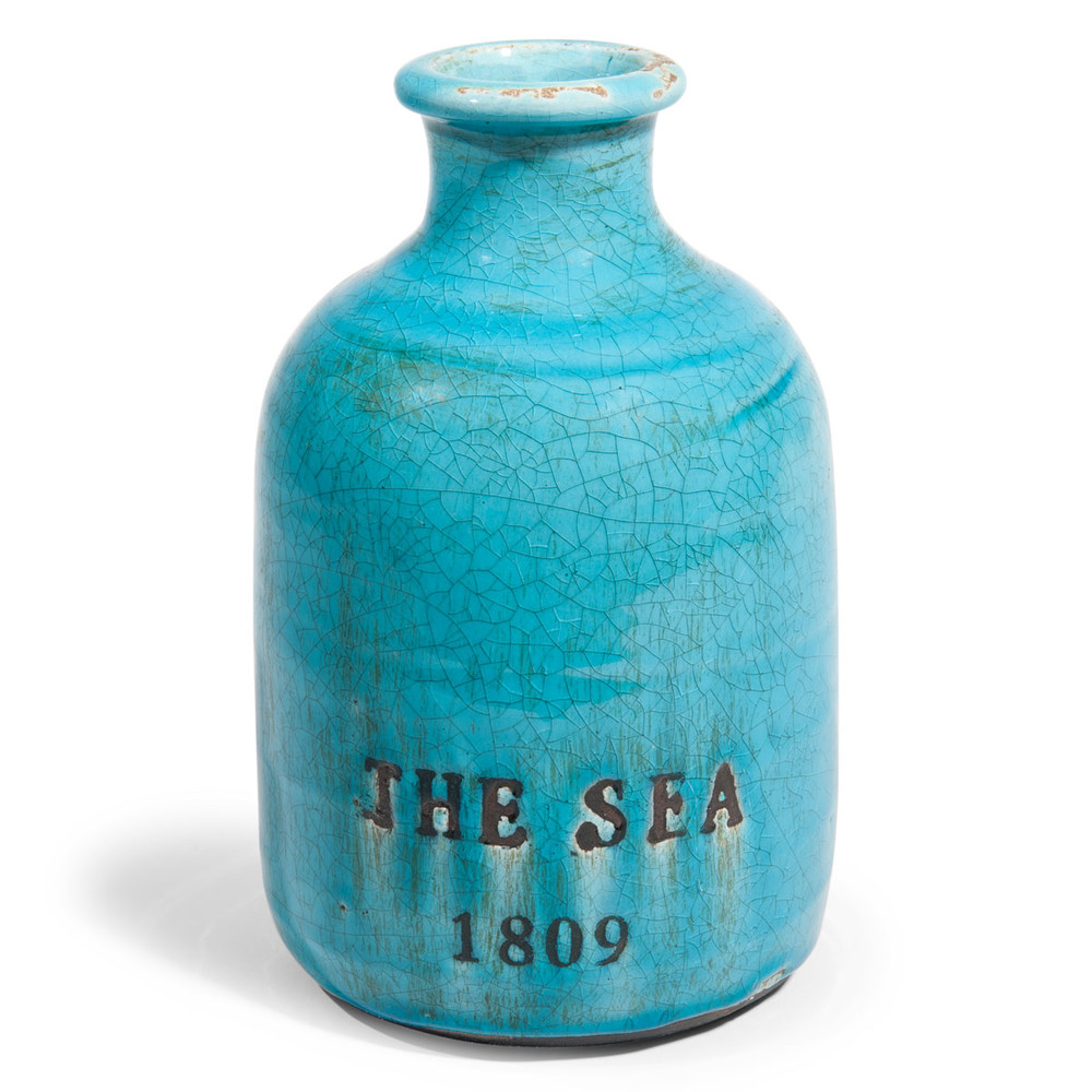 Vaso blu in gres h 22 cm fantasia maisons du monde for Vaso blu