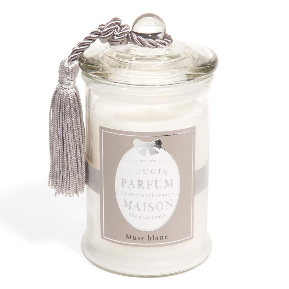 Vela en vaso blanca perfume almizcle 15 cm de alto - Bougies maison du monde ...