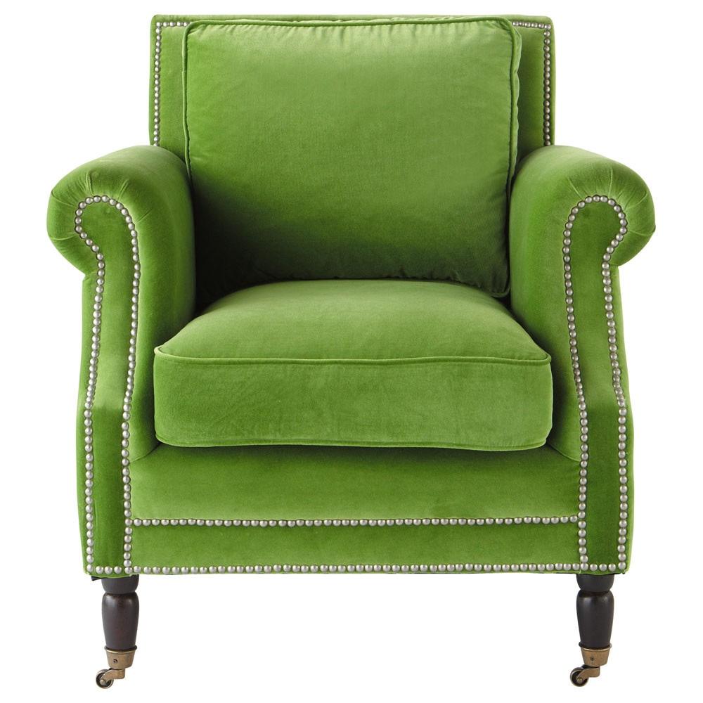 Velvet Armchair In Green Baudelaire Maisons Du Monde