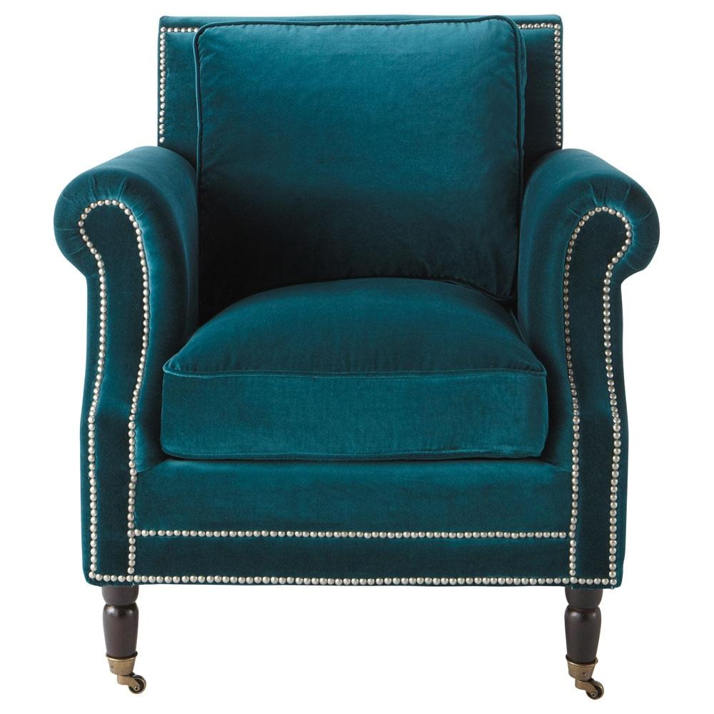 Velvet Armchair In Peacock Blue Baudelaire Maisons Du Monde