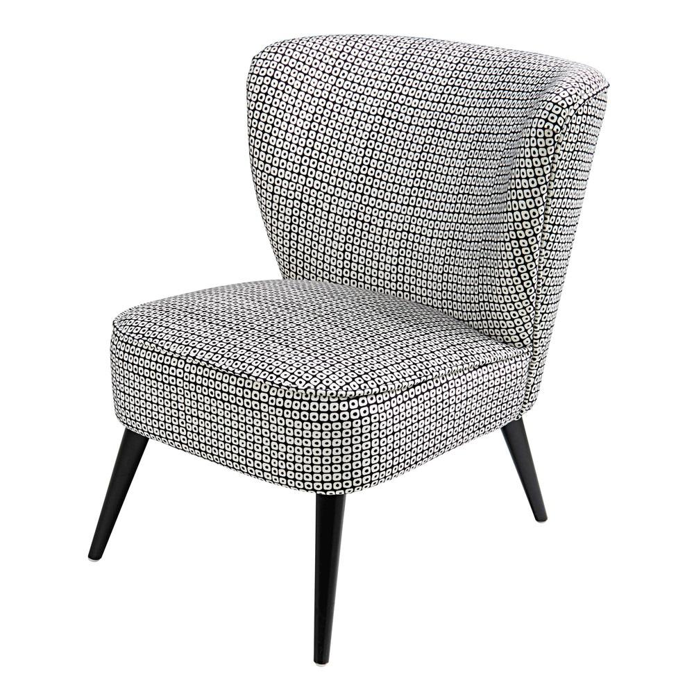 velvet armchair with black and white motifs palm maisons du monde. Black Bedroom Furniture Sets. Home Design Ideas