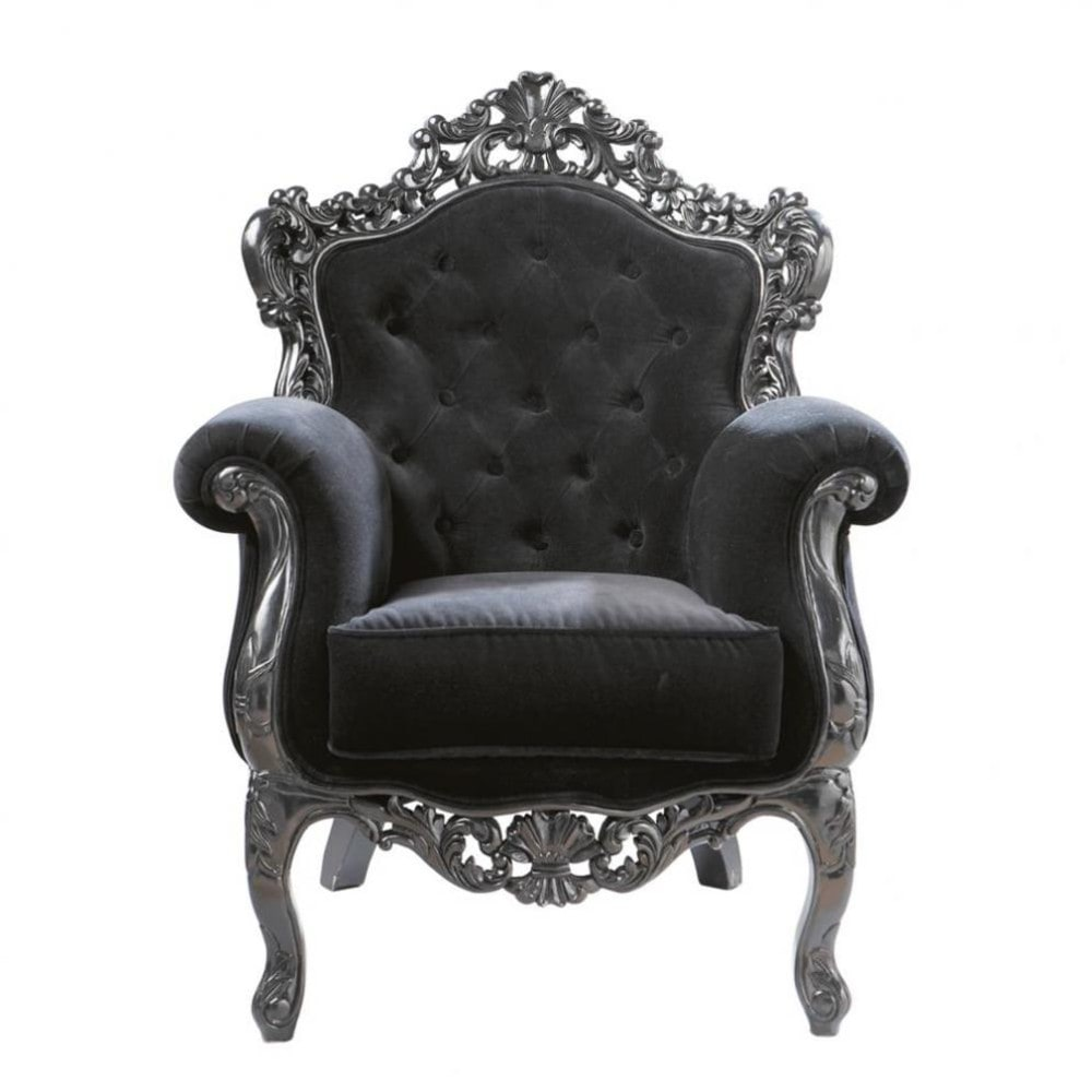 Velvet button armchair in black Barocco  Maisons du Monde -> Chaise Salon Merisier