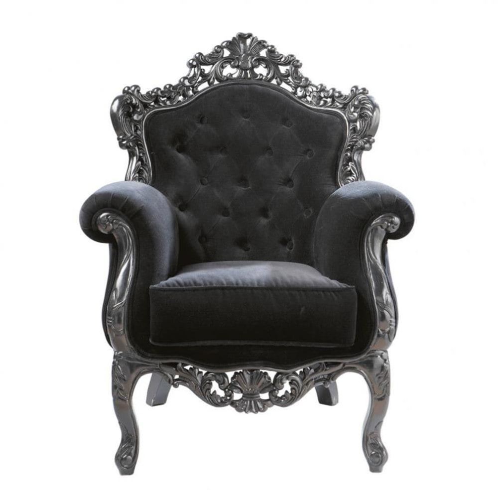 Velvet Button Armchair In Black Barocco