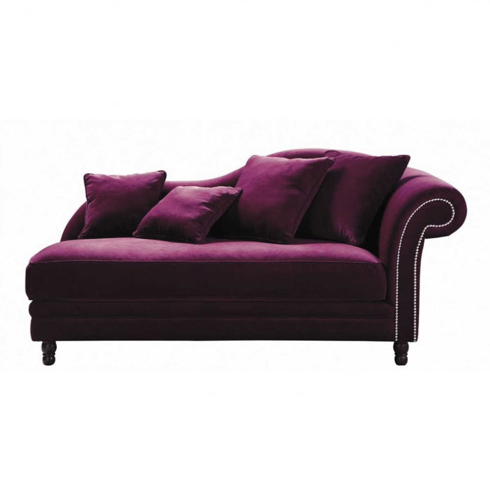 Velvet chaise longue in aubergine scala maisons du monde for Chaise longue style sofa