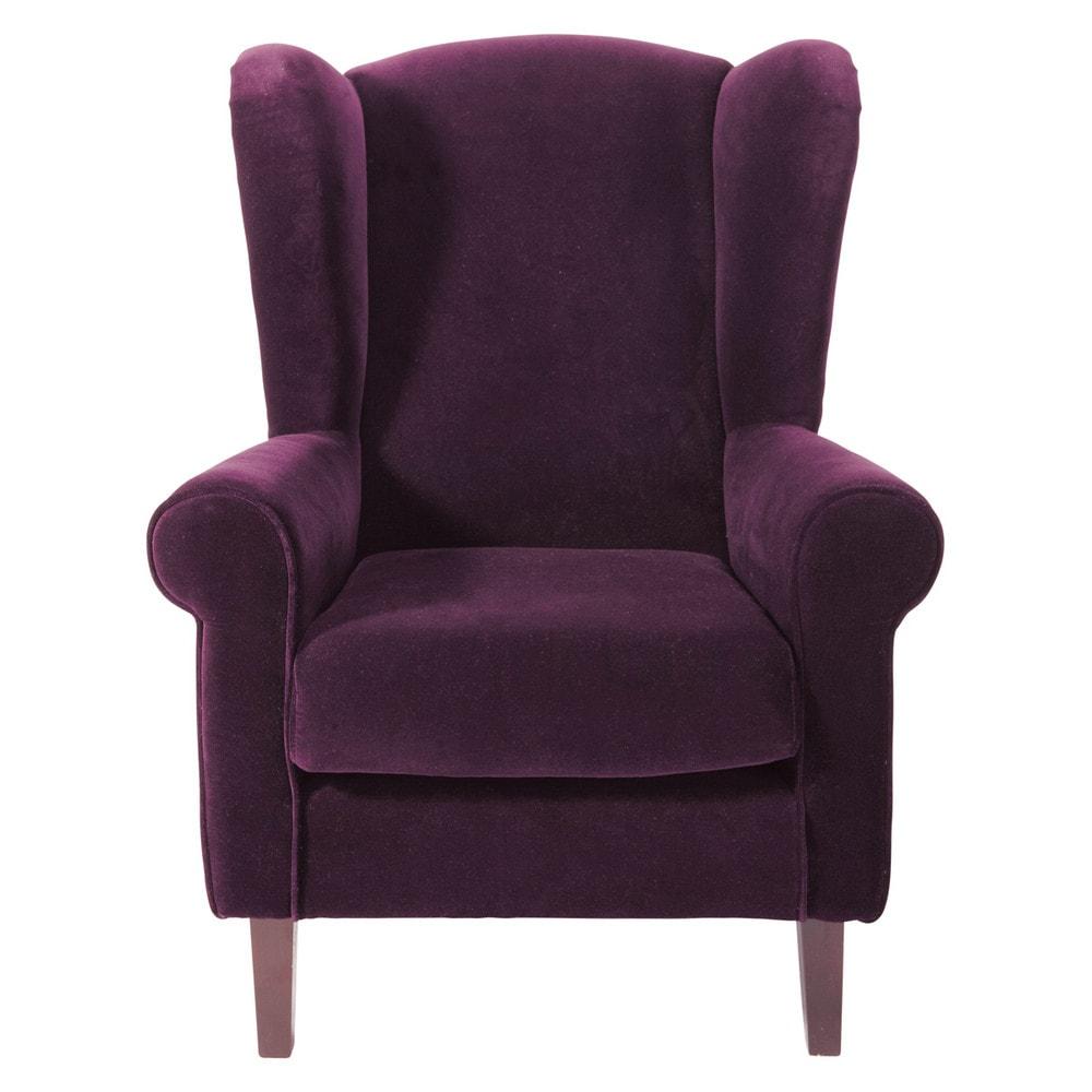Velvet child's armchair in purple Velvet   Maisons du Monde