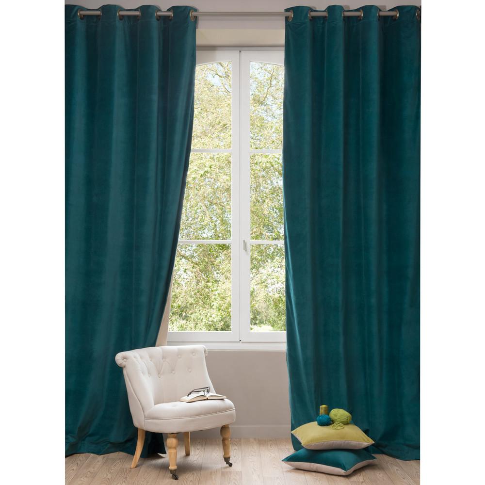 Velvet curtain duck blue 140 x 300 cm maisons du monde - Maison du monde draps ...