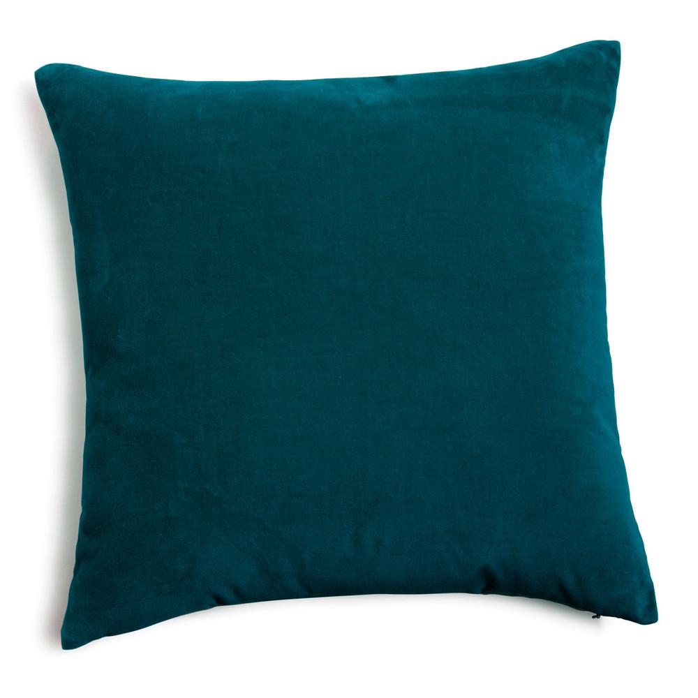 velvet cushion peacock blue 45 x 45cm maisons du monde. Black Bedroom Furniture Sets. Home Design Ideas