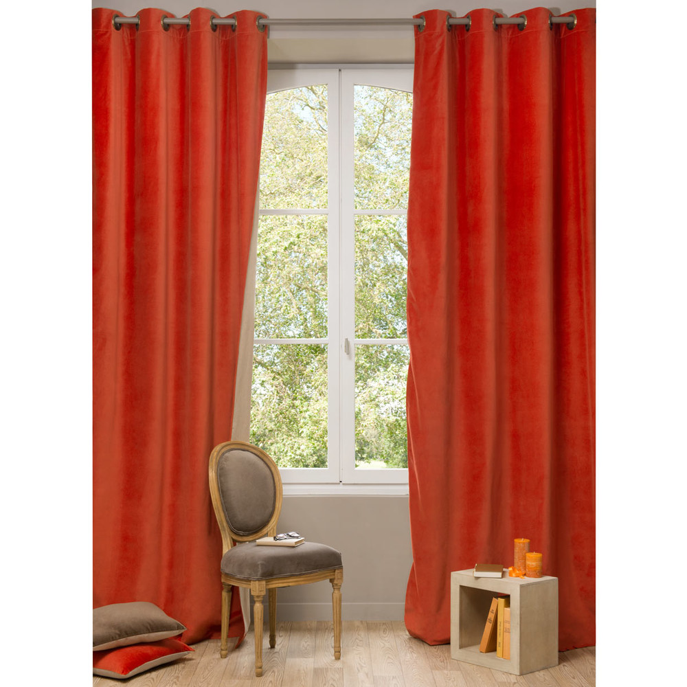 Double Sided Drapes : Velvet double sided eyelet curtain in terracotta and beige