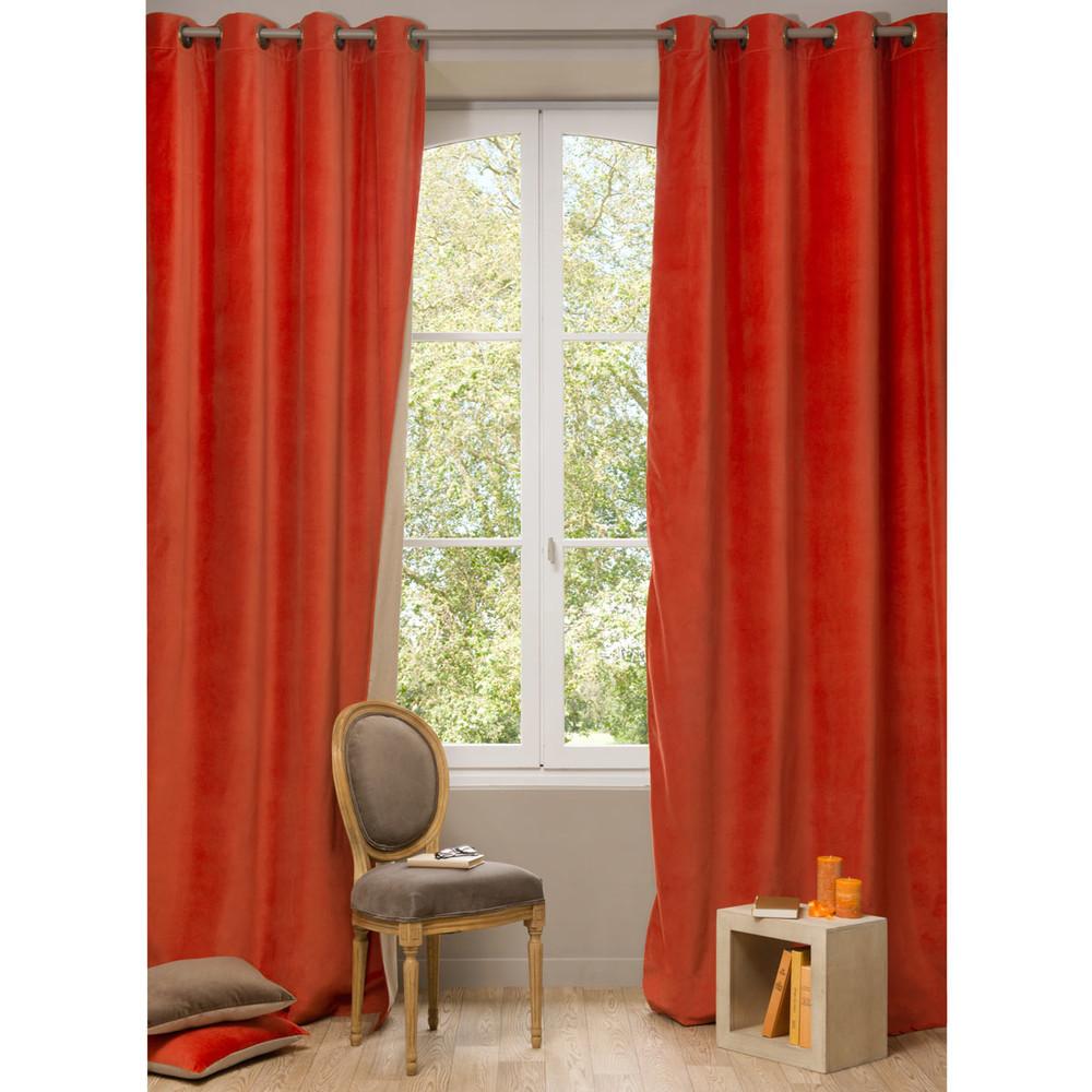 velvet double sided eyelet curtain in terracotta and beige. Black Bedroom Furniture Sets. Home Design Ideas