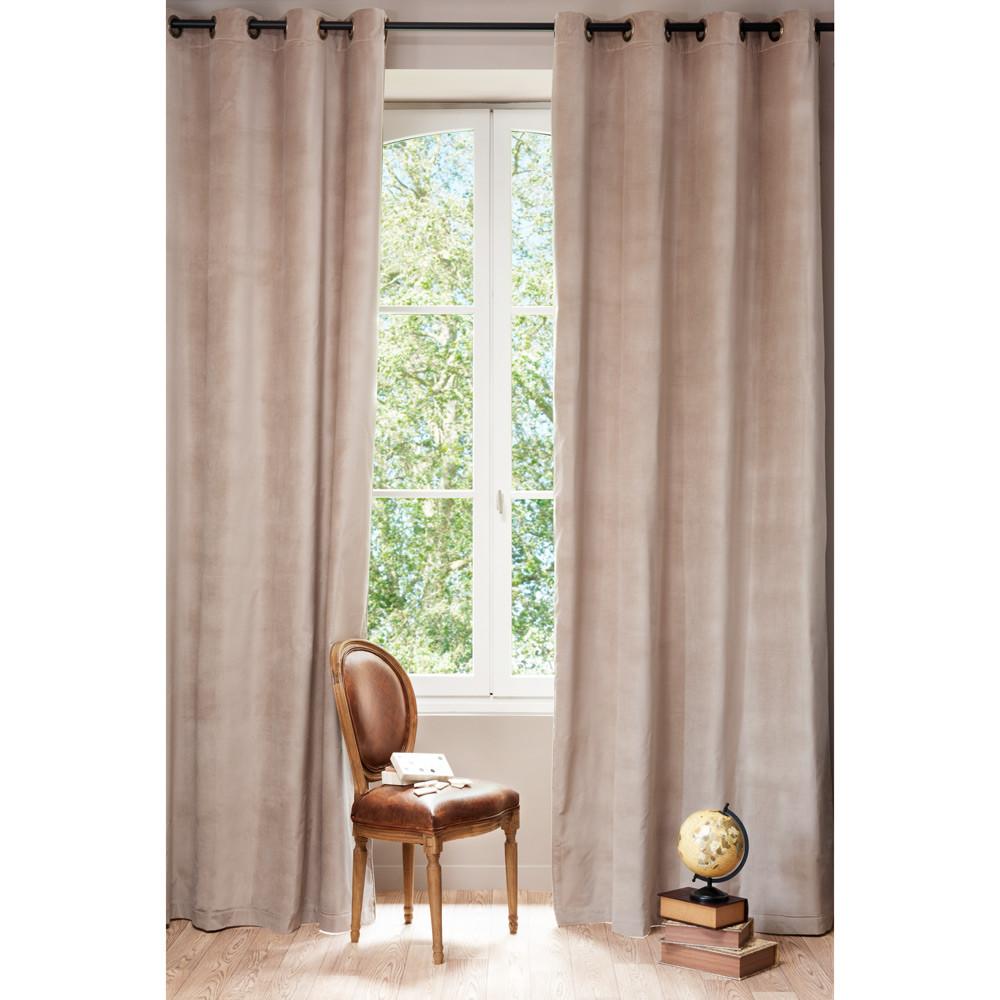 Velvet Linen Double Sided Eyelet Curtain In Beige 140 X