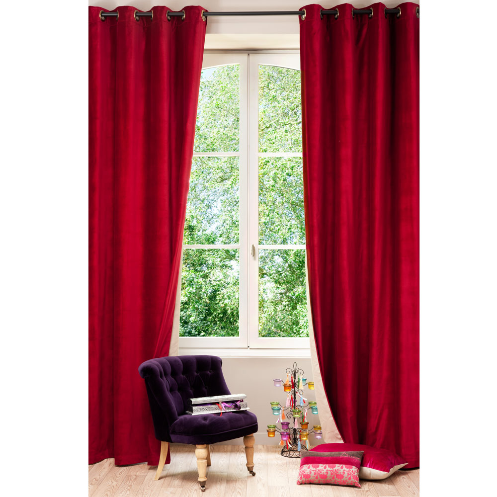 Double Sided Drapes : Velvet linen double sided eyelet curtain in red and beige
