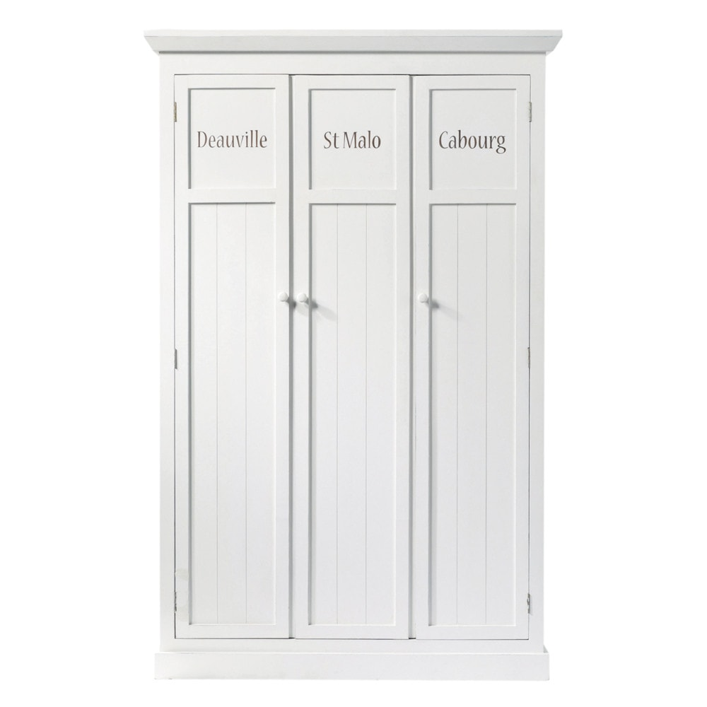 vestiaire en bois blanc l 125 cm newport maisons du monde. Black Bedroom Furniture Sets. Home Design Ideas