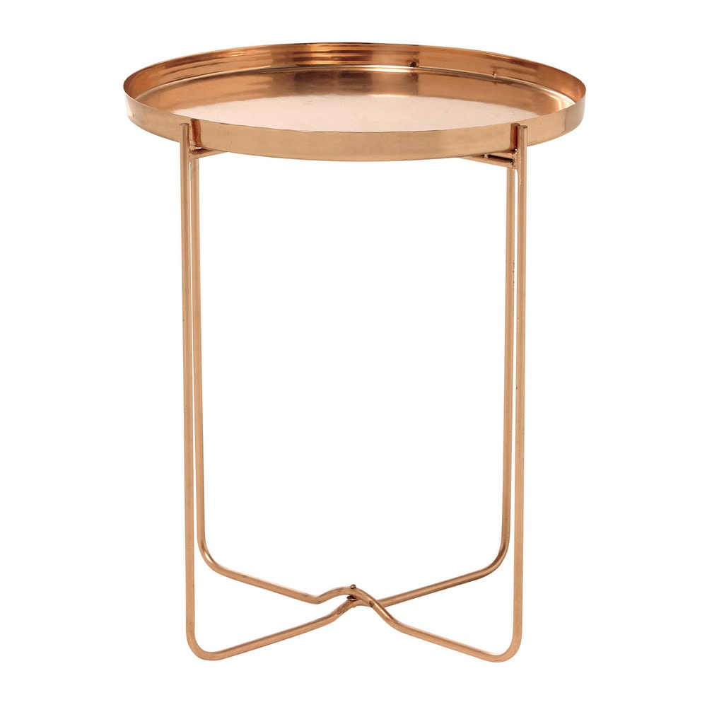victoire copper finish metal side table d 46cm maisons du monde. Black Bedroom Furniture Sets. Home Design Ideas