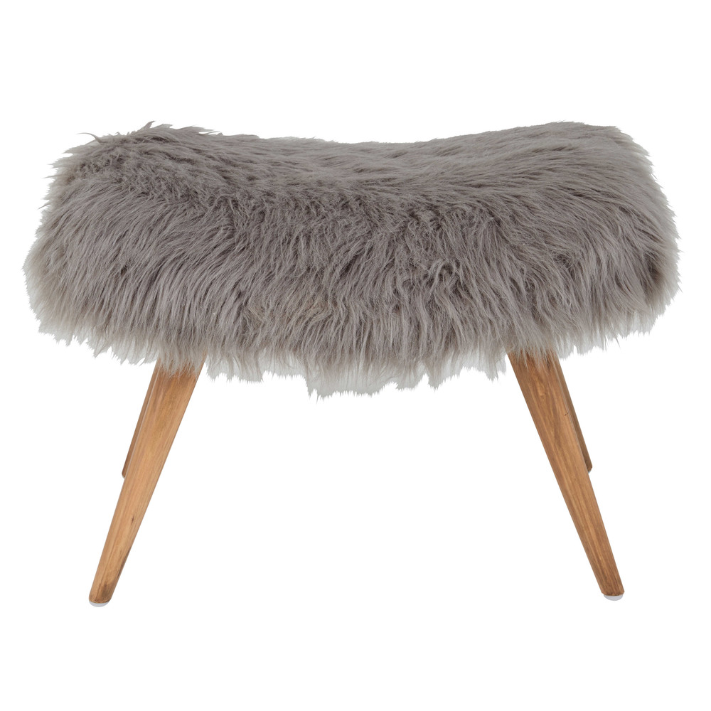 vilma grey faux fur stool maisons du monde. Black Bedroom Furniture Sets. Home Design Ideas