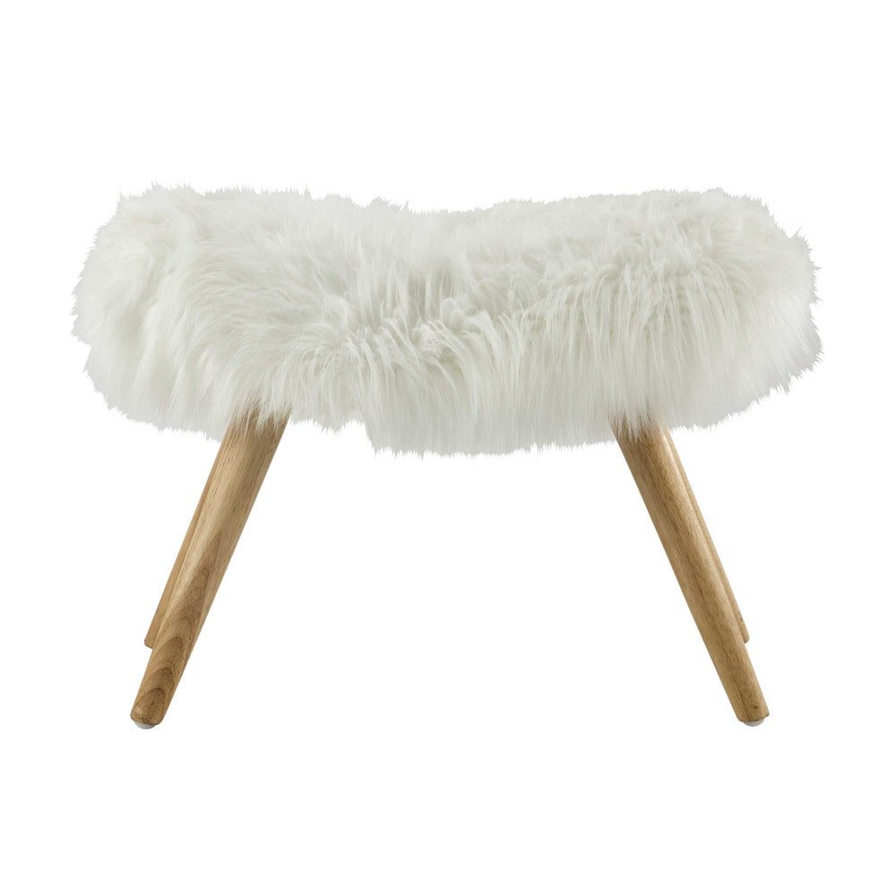 Vilma Wood And White Faux Fur Stool Maisons Du Monde