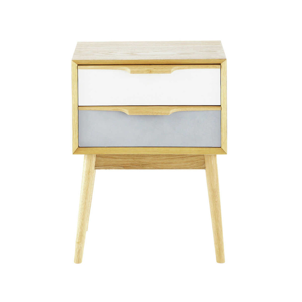 Vintage 2 drawer bedside table fjord maisons du monde - Table de nuit etagere ...