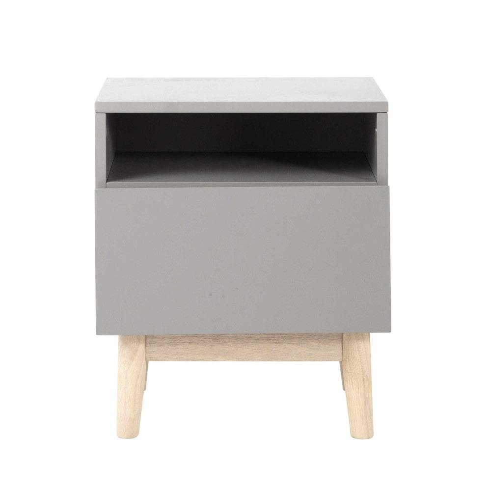 vintage bedside table in grey artic maisons du monde. Black Bedroom Furniture Sets. Home Design Ideas