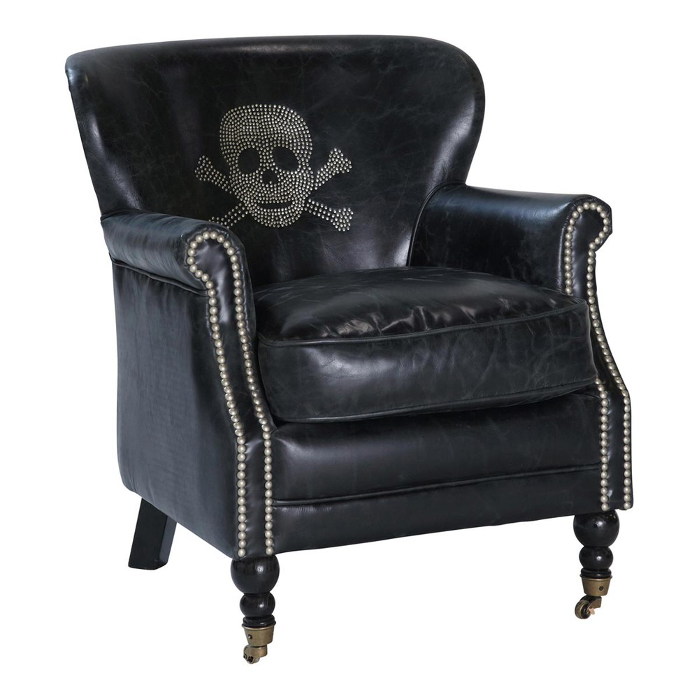Vintage Black Leather Armchair With Skull Zadig Zadig