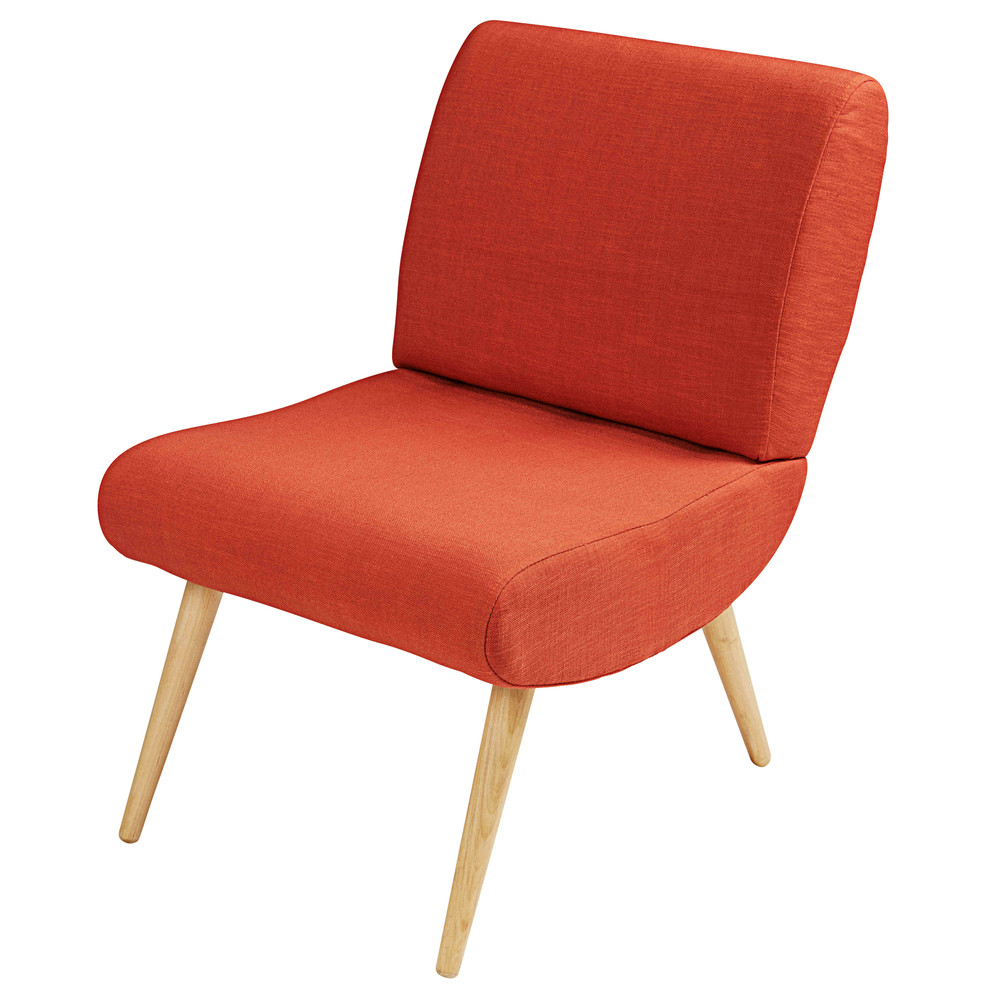 vintage brick red fabric and solid birch armchair cosmos maisons du monde. Black Bedroom Furniture Sets. Home Design Ideas