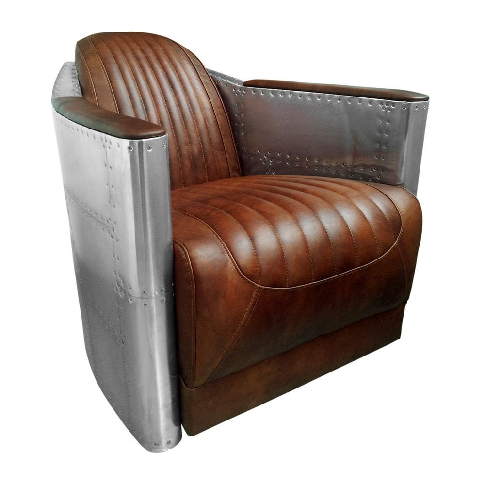 Vintage Brown Leather Aviator Armchair Maisons Du Monde